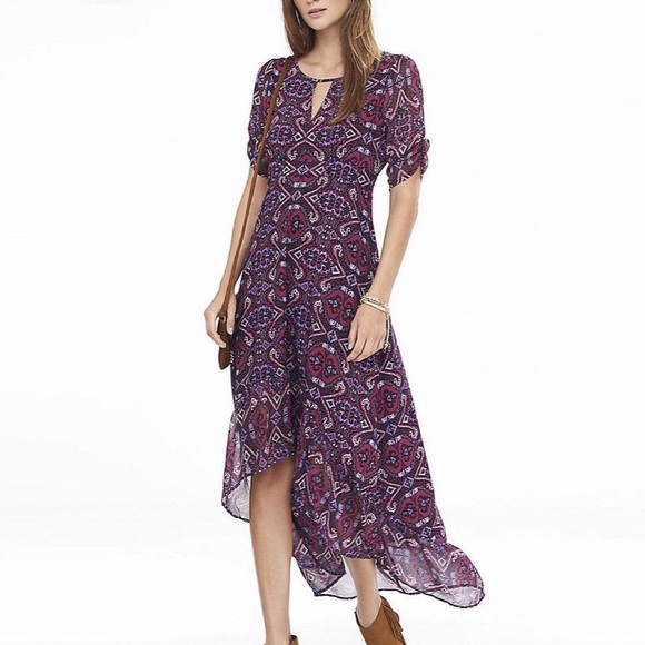 Express Dresses & Skirts - EXPRESS Pink Tapestry Print Hi-low Key Hole Maxi